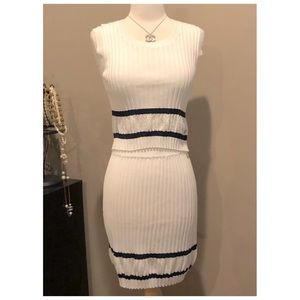 CHANEL CC 31 Rue Cambon Ribbed Skirt Crop Top Set